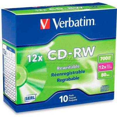 Verbatim® CD-RW Discs, 95156, 4-12X, 700MB/80Min, Slim Case, 10/Pk, Silver