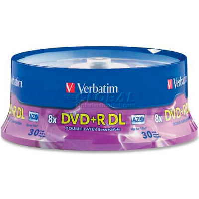 Verbatim® Double Layer DVD+R, 96542, 8X, 8.5GB, Branded, Spindle, 30/Pk