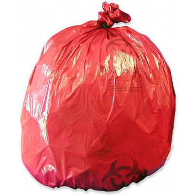 "Medegen Red Biohazard Waste Disposable Bags, 1.2 mil, 10 Gallon, 24"" x 24"", 50/Box"