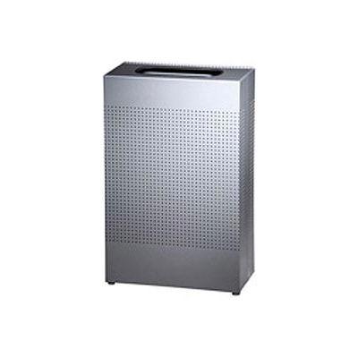 Rubbermaid® Silhouette Steel Rectangular Trash Can W/Plastic Liner, 13 Gallon, Silver Metallic