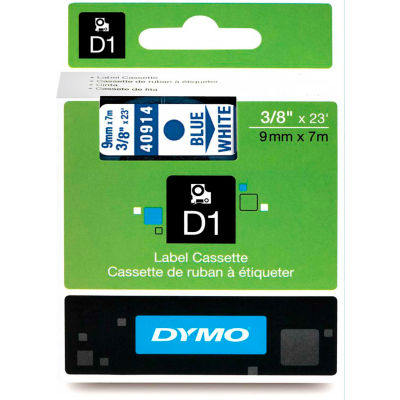 "DYMO® D1 Standard Labels 3/8"" Blue on White - Pkg Qty 5"
