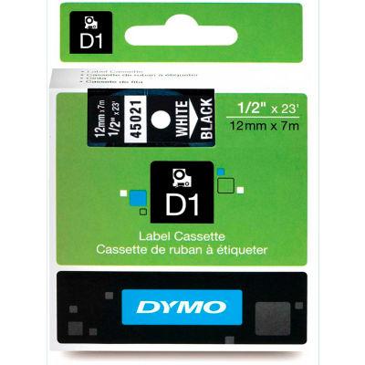 "DYMO® D1 Standard Labels 1/2"" White on Black - Pkg Qty 5"