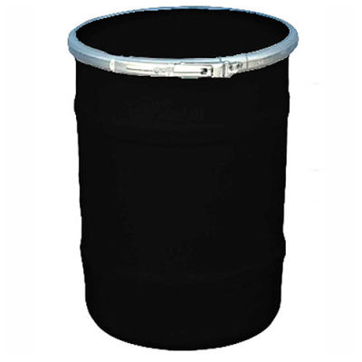 US Roto Molding 15 Gallon Plastic Drum SS-OH-15 - Open Head with Plain Lid - Bolt Ring - Black