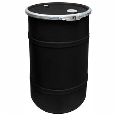 US Roto Molding 20 Gallon Plastic Drum SS-OH-20 - Open Head with Bung Cover - Bolt Ring - Black