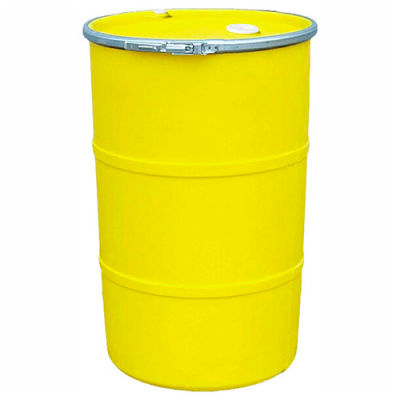 US Roto Molding 55 Gallon Plastic Drum SS-OH-55 - Open Head with Bung Cover - Bolt Ring - Yellow