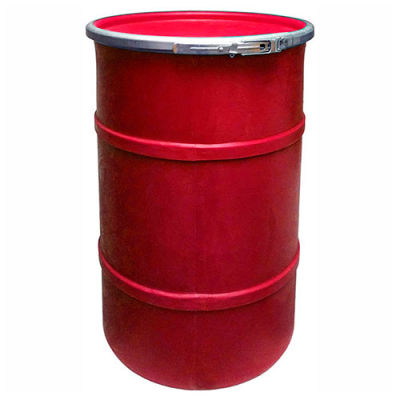 US Roto Molding 55 Gallon Plastic Drum SS-OH-55 - Open Head with Plain Lid - Bolt Ring - Red