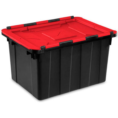 Sterilite Hinged Lid Industrial Tote 14619006- Black/Racer Red 12 Gallon 21-3/4 x 15-3/8 x 12-1/2 - Pkg Qty 6