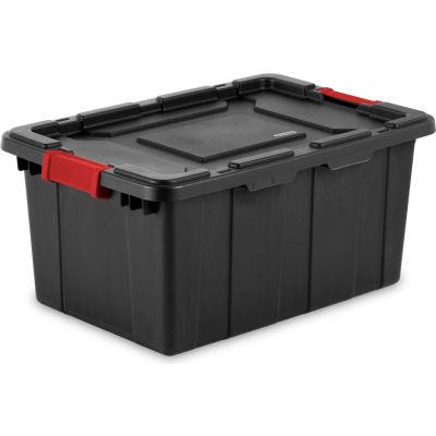 "Sterilite Industrial Tote 14649006 - Black/Racer Red 15 Gal. 25-3/4""L x 17-1/4""W x 11-7/8""H - Pkg Qty 6"
