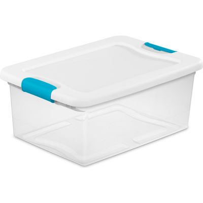 Sterilite 15 Quart 14948012 Clear Storage Latch Tote White Lid Blue Latches 16-1/4 x 11-1/4 x 6-3/4 - Pkg Qty 12
