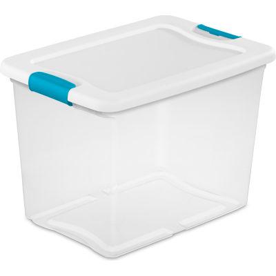 Sterilite 25 Quart 14958006 Clear Storage Latch Tote White Lid Blue Latches 16-1/4 x 11-1/4  x11-5/8 - Pkg Qty 6