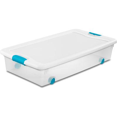 Sterilite 56 Quart 14988004 Wheeled Clear Storage Tote White Lid Blue Latches 33-7/8 x 18-3/4 x 7 - Pkg Qty 4