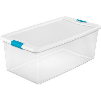 Sterilite 106 Quart 14998004 Clear Storage Latch Tote White Lid Blue Latches 33-7/8 x 18-3/4 x 13 - Pkg Qty 4