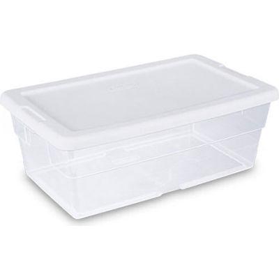 "Sterilite 6 Quart 16428012 Clear Storage Tote with White Lid 13-5/8"" x 8-1/4"" x 4-7/8"" - Pkg Qty 12"