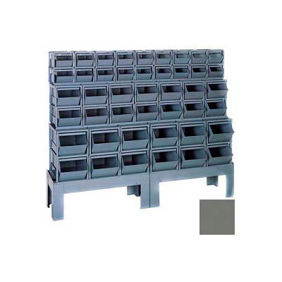 "Stackbin® Steel Hopper Bin Compartment System, 65-1/2""W X 16""D X 52-1/2""H, 44 Steel Bins, Gray"