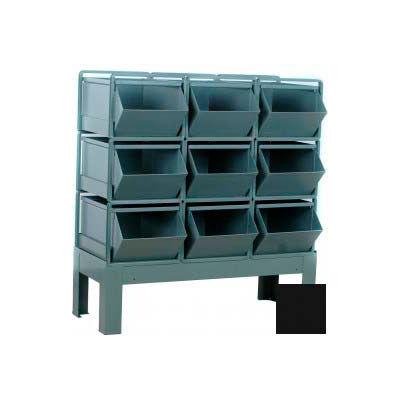 """Stackbin® Steel Hopper Bin Stackrack Unit, 42-1/4""""W X 20-1/2""""D X 42""""H, 9 Steel Bins, Black"""
