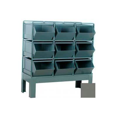 """Stackbin® Steel Hopper Bin Stackrack Unit, 42-1/4""""W X 20-1/2""""D X 42""""H, 9 Steel Bins, Gray"""