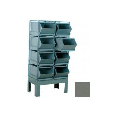 "Stackbin® Pre-Built Roller Bearing Unit, 34-1/2""W X 24""D X 59""H, 8 Steel Bins, Gray"
