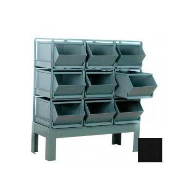"""Stackbin® Steel Hopper Bin Stackrack Unit, 51-1/4""""W X 24""""D X 48""""H, 9 Steel Bins, Black"""