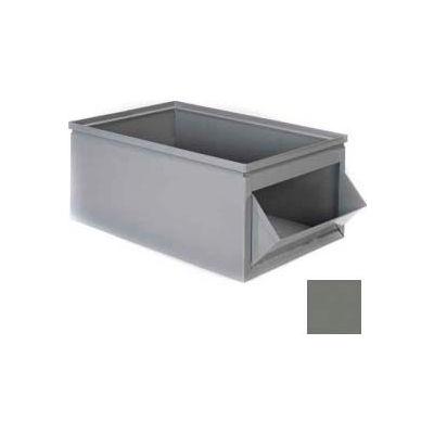 """Stackbin® Steel Bin 1-802 - 12""""W x 21""""D x 8""""H Steel Hopper Box, Gray"""