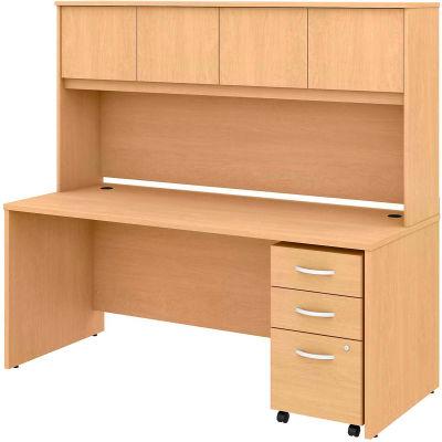 "Bush Furniture 72""W Desk with Hutch & 3 Drawer Mobile Pedestal - Natural Maple - Studio C Series"