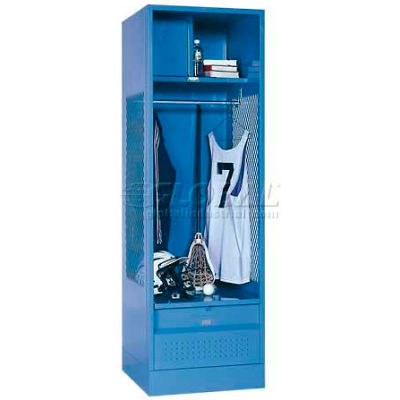 Penco 6WFD33-052 Stadium® Locker With Shelf Security Box & Footlocker 24x24x76 Blue All Welded