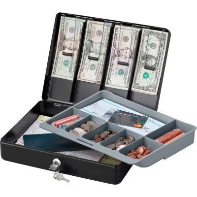 "SentrySafe Deluxe Cash Box DCB-1 Key Lock, 11-13/16""W x 9-1/4""D x 3-9/16""H, Black"