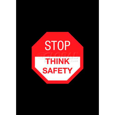 """NoTrax® Stop Think Safety Safety Message Mat 3/8"""" Thick 4' x 6' Black"""
