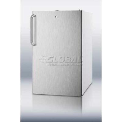 Summit CM411LSSTB Counter Height Refrigerator-Freezer W/Lock 4.1 Cu. Ft. White/Stainless Steel