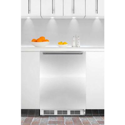 Summit CT66JBISSHH Built In Undercounter Refrigerator-Freezer 5.1 Cu. Ft. White/Stainless Steel