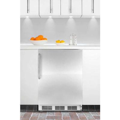 Summit CT66JBISSTB Built In Undercounter Refrigerator-Freezer 5.1 Cu. Ft. White/Stainless Steel
