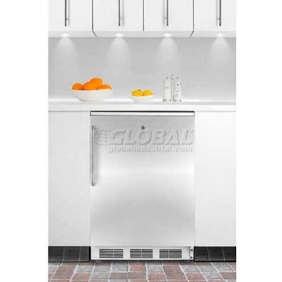 Summit-Built-In Undercounter Refrigerator-Freezer, White, S/S Door, Lock