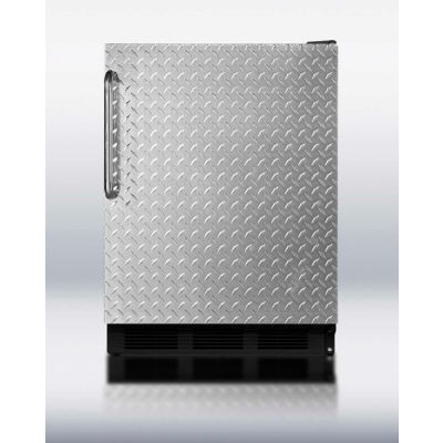 Summit FF7BBIDPL Commercial Built In All Refrigerator 5.5 Cu. Ft. Black/Diamond Plate