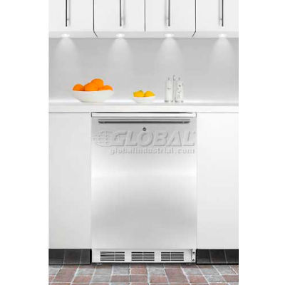 Summit  Commercial Built In Refrigerator W/Lock 5.5 Cu. Ft. White/Stainless Steel