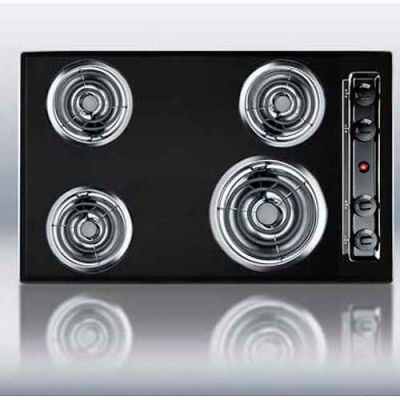 "Summit-30""W 220V Electric Cooktop, Black Porcelain Finish"