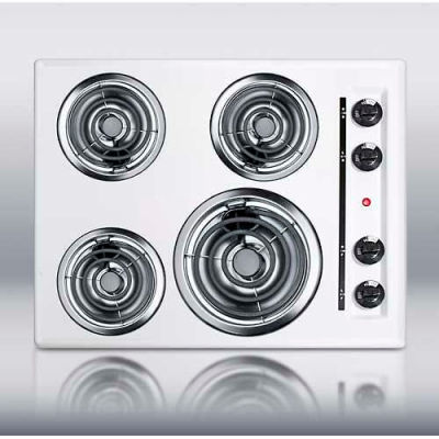 """Summit-24""""W 220V Electric Cooktop, White Porcelain Finish"""