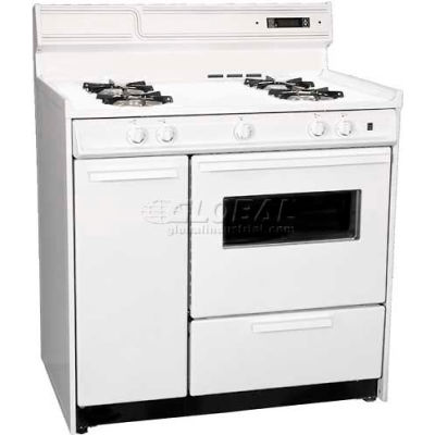 """Summit WNM4307KW - Deluxe White Gas Range, Electronic Ignition, Clock/Timer, Oven Window Light, 36""""W"""