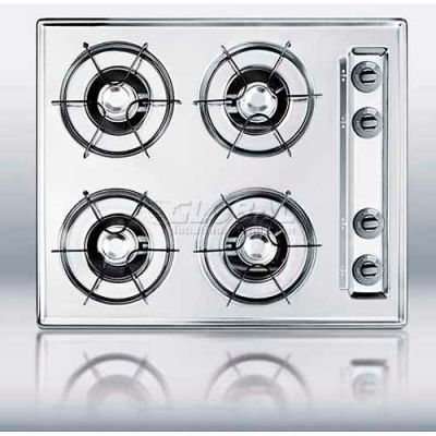 """Summit-24""""W Gas Cooktop, Four Burners, Gas Spark Ignition, Brushed Chrome"""