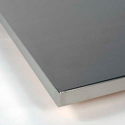 """48""""W x 24""""D x 1-1/2"""" Thick Treston Work Surface 16 Gauge Stainless Steel Wrapped & Polished Corners"""