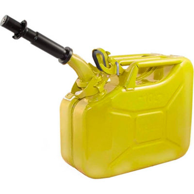 Wavian Jerry Can w/Spout & Spout Adapter, Yellow, 10 Liter/2.64 Gallon Capacity - 3025