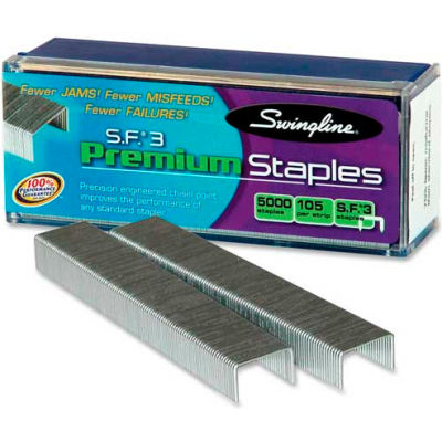 "Swingline® S.F.® 3 Premium Staples, 1/4"" Leg Length, 105 Per Strip, 5000/Box"