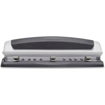 Swingline® Precision Pro® Desktop Punch, 2 - 3 Holes, 10 Sheets, Black/Silver