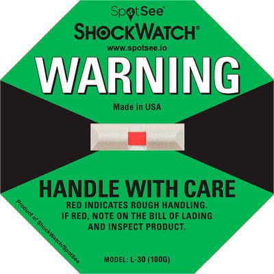 SpotSee™ ShockWatch® L-30 Impact Indicators, 100G Range, Green, 50/Box