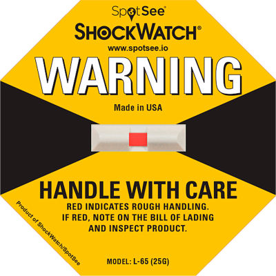 SpotSee™ ShockWatch® L-65 Impact Indicators, 25G Range, Yellow, 50/Box