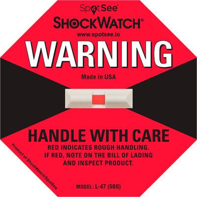 SpotSee™ ShockWatch® L-47 Impact Indicators, 50G Range, Red, 50/Box