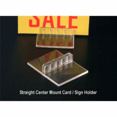 "Straight Center Mount Sign/Card Holder, 2""W X 1-9/16""L, Crystal Clear Styrene - Pkg Qty 100"
