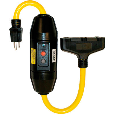 Tower Mfg 30396501-08 GFCI Cord Set, 20 Amp, Heavy Duty, In-Line, Manual Reset, 2 FT, Black
