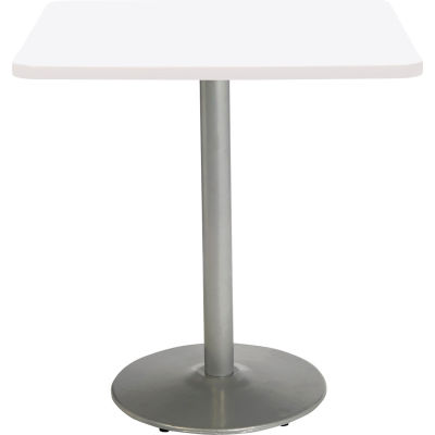 """KFI 36"""" x 36""""H Square Counter Height Pedestal Table - Designer White Top - Round Silver Base"""