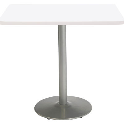 """KFI 42"""" x 36""""H Square Counter Height Pedestal Table - Designer White Top - Round Silver Base"""