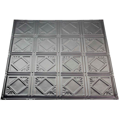 Great Lakes Tin Ludington 2' X 2' Lay-in Tin Ceiling Tile in Argento - Y57-07