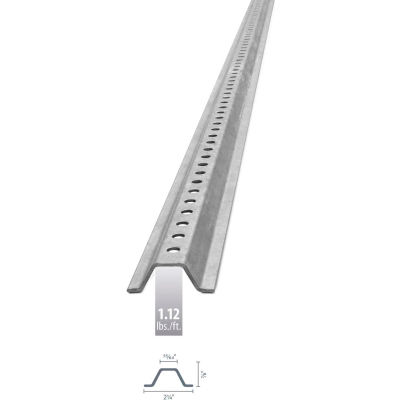 """U-Channel Sign Post, 7'L, 1.12 lbs./ft., Galvanized Post, Holes 30"""" Down Post"""
